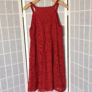LOFT Dresses - Ann Taylor LOFT Red Floral Lace Halter Neck Dress